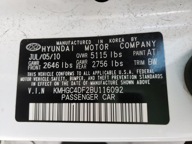 2011 HYUNDAI GENESIS 4. KMHGC4DF2BU116092