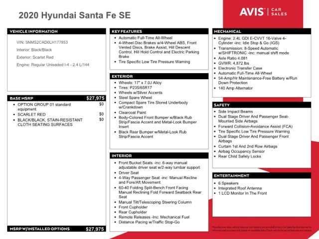 2020 HYUNDAI SANTA FE S 5NMS2CAD0LH177853