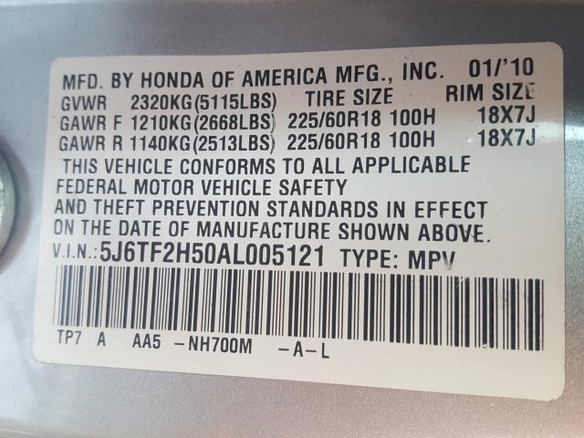 2010 Honda ACCORD   Vin: 5J6TF2H50AL005121