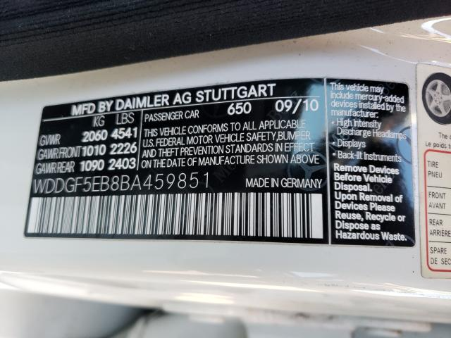 2011 Mercedes-Benz C | Vin: WDDGF5EB8BA459851