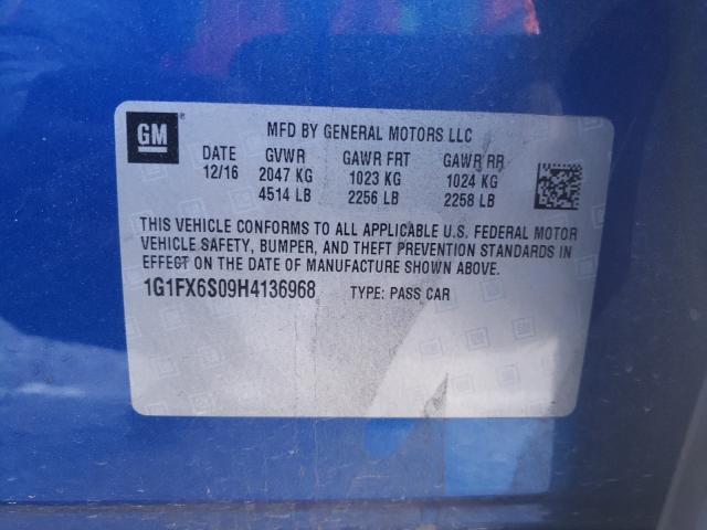 2017 Chevrolet BOLT   Vin: 1G1FX6S09H4136968