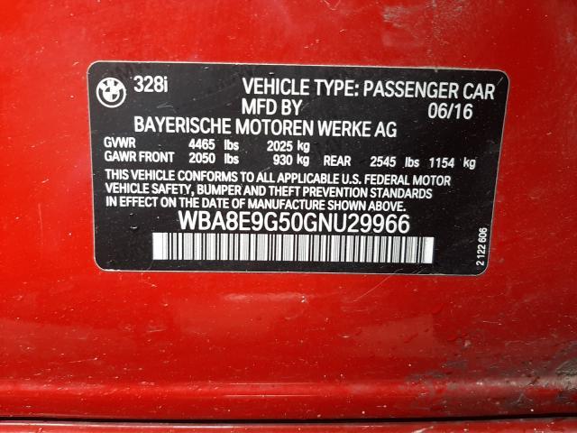 2016 BMW 3 series | Vin: WBA8E9G50GNU29966