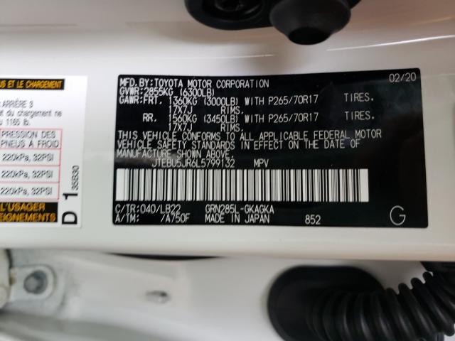 JTEBU5JR6L5799132 2020 Toyota 4Runner Sr 4.0L