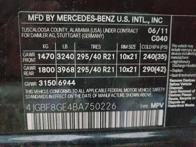 2011 MERCEDES-BENZ GL 550 4MA 4JGBF8GE4BA750226