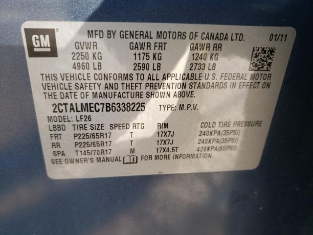 2011 GMC TERRAIN SL 2CTALMEC7B6338225