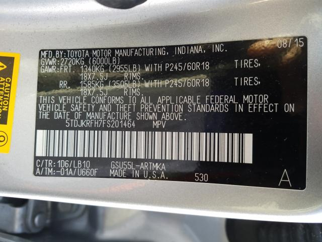 2015 Toyota Highlander 3.5L, VIN: 5TDJKRFH7FS201464, аукцион: COPART, номер лота: 32243641
