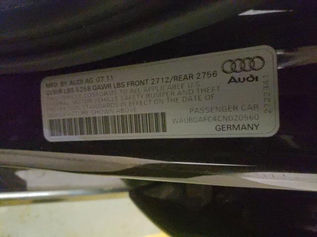 2012 AUDI A6 WAUBGAFC4CN020560