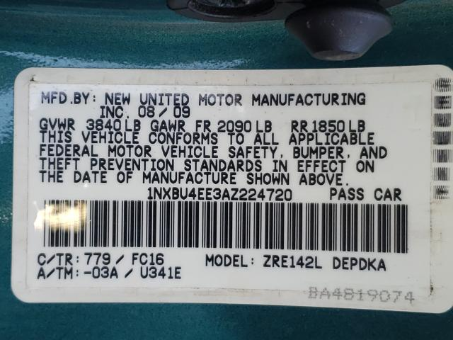 2010 TOYOTA COROLLA BA 1NXBU4EE3AZ224720