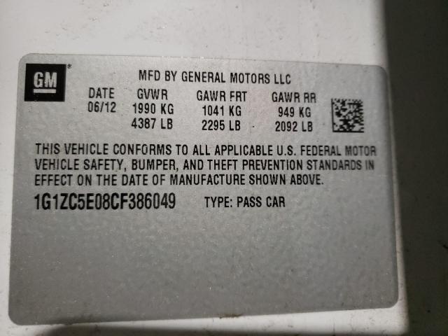 2012 CHEVROLET MALIBU 1LT 1G1ZC5E08CF386049