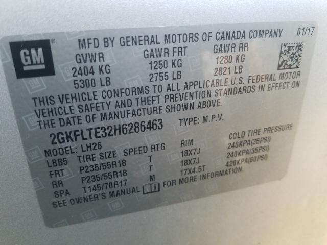 2017 GMC TERRAIN SL 2GKFLTE32H6286463