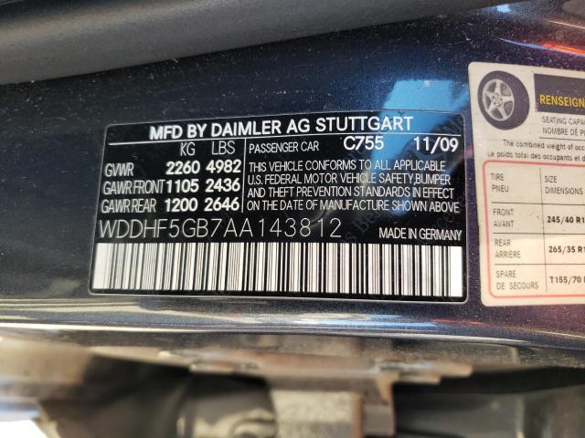 2010 MERCEDES-BENZ E 350 WDDHF5GB7AA143812