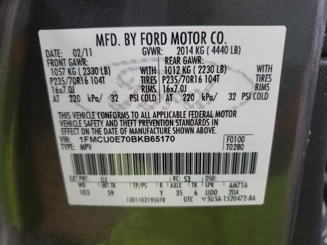 2011 FORD ESCAPE LIM 1FMCU0E70BKB65170