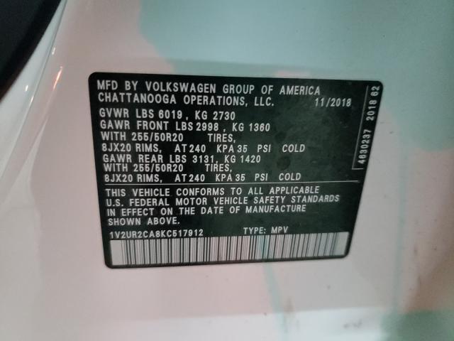 2019 VOLKSWAGEN ATLAS SE 1V2UR2CA8KC517912
