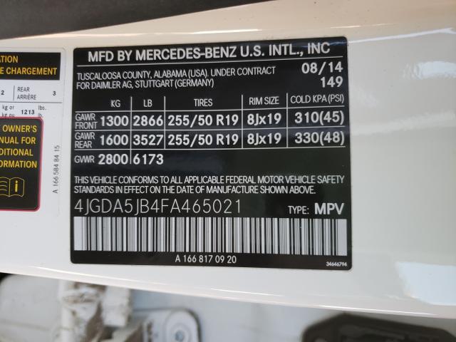 2015 MERCEDES-BENZ ML 350 4JGDA5JB4FA465021