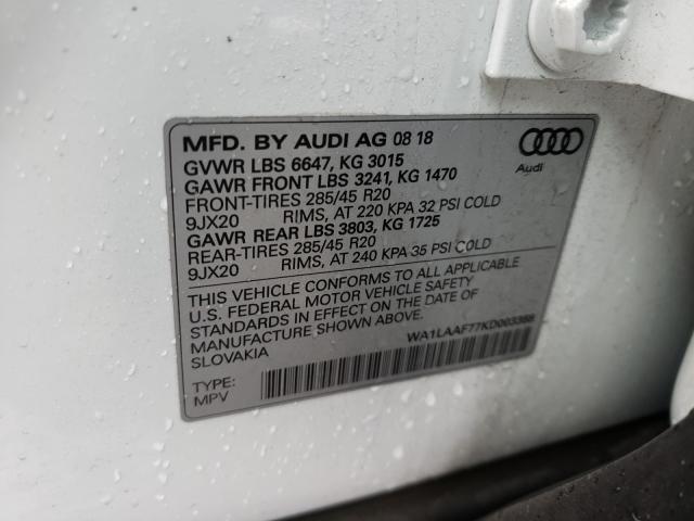2019 AUDI Q7 PREMIUM WA1LAAF77KD003388