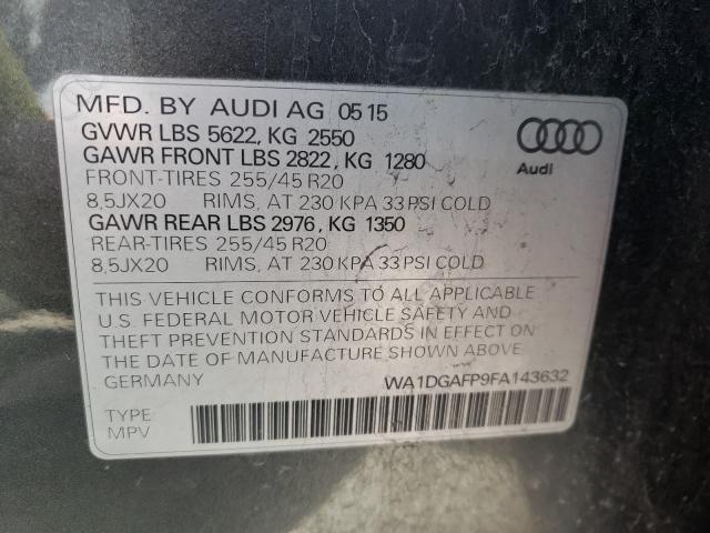 2015 AUDI Q5 PREMIUM WA1DGAFP9FA143632