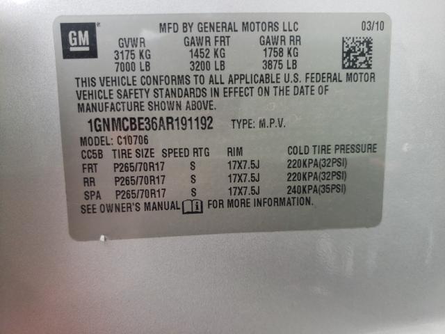 2010 CHEVROLET TAHOE C150 1GNMCBE36AR191192