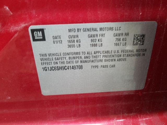 2012 CHEVROLET SONIC LT 1G1JC6SH9C4149708