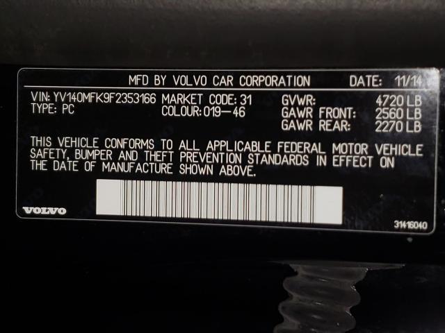 2015 VOLVO S60 PREMIE YV140MFK9F2353166