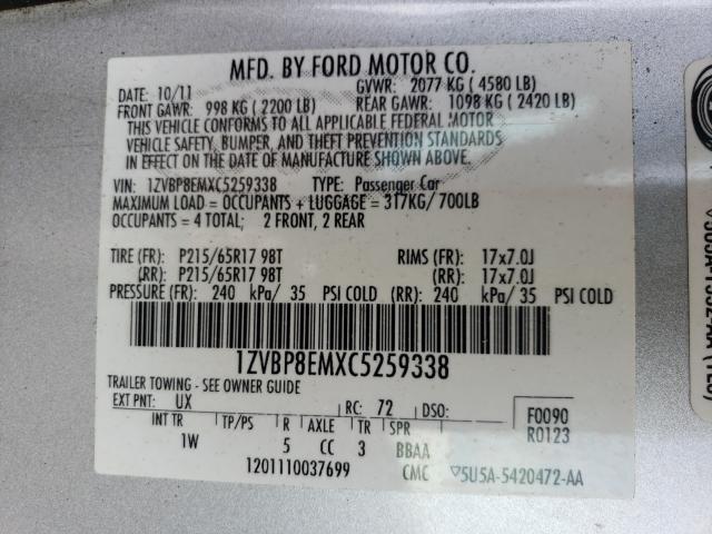 2012 FORD MUSTANG 1ZVBP8EMXC5259338
