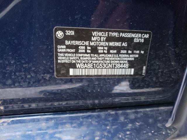 2016 BMW 320 I WBA8E1G53GNT38448