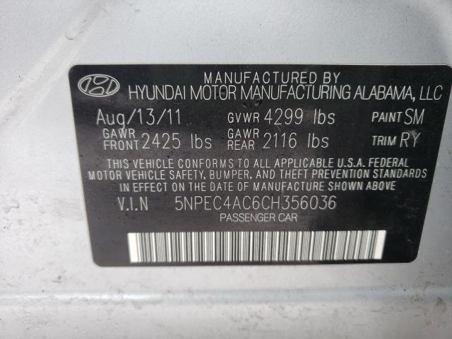 2012 HYUNDAI SONATA SE 5NPEC4AC6CH356036