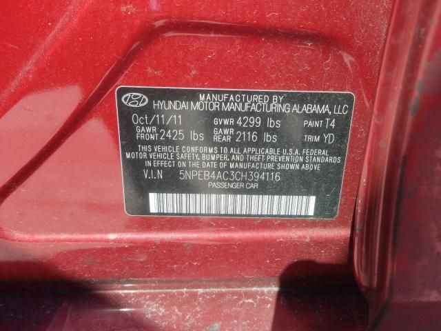 2012 HYUNDAI SONATA GLS 5NPEB4AC3CH394116