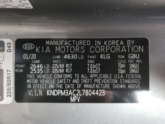 2020 KIA SPORTAGE L KNDPM3AC2L7804423