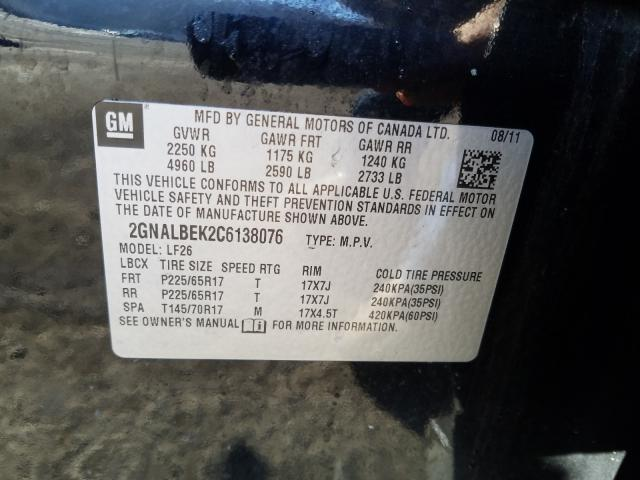 2012 CHEVROLET EQUINOX LS 2GNALBEK2C6138076
