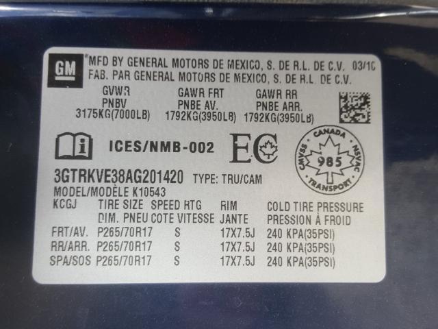 2010 GMC SIERRA K15 3GTRKVE38AG201420