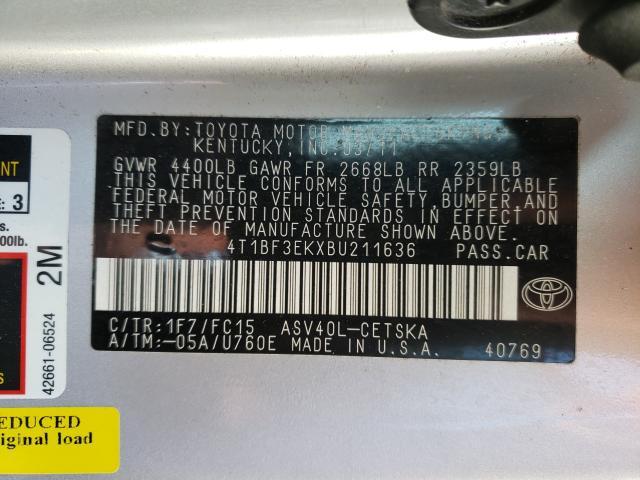 2011 TOYOTA CAMRY BASE 4T1BF3EKXBU211636