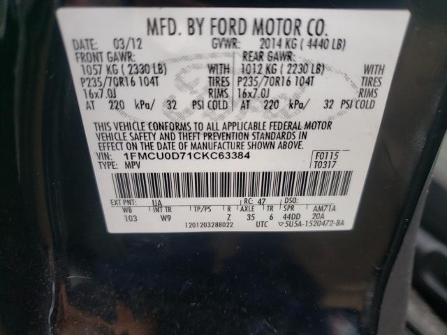 2012 FORD ESCAPE XLT 1FMCU0D71CKC63384