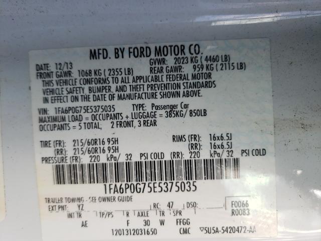 2014 FORD FUSION S 1FA6P0G75E5375035