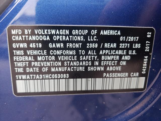 2017 VOLKSWAGEN PASSAT S 1VWAT7A31HC053083