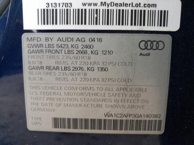 2016 Audi Q5   Vin: WA1C2AFP3GA140382
