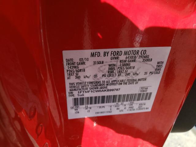 2010 FORD F150 1FTMF1CW0AKB99787