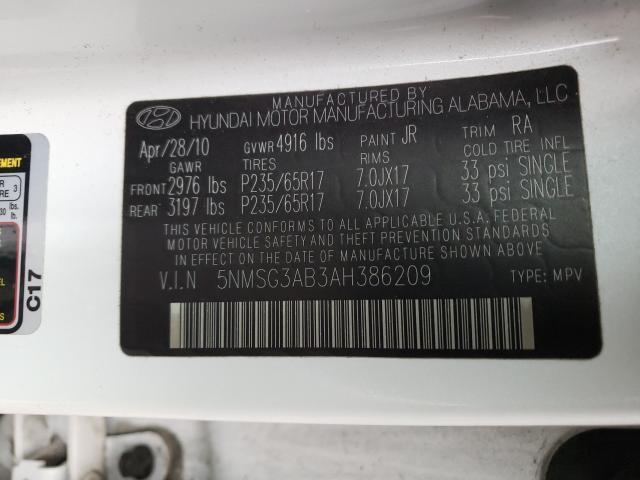2010 HYUNDAI SANTA FE G 5NMSG3AB3AH386209