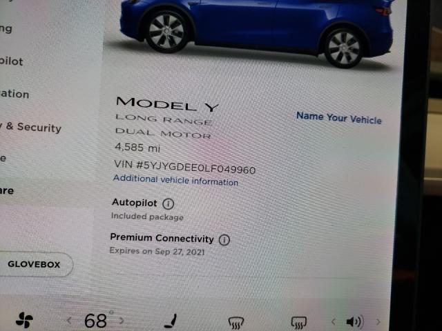 2020 Tesla MODEL Y   Vin: 5YJYGDEE0LF049960