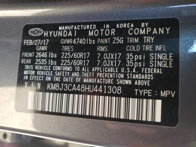2017 HYUNDAI TUCSON LIM KM8J3CA48HU441308