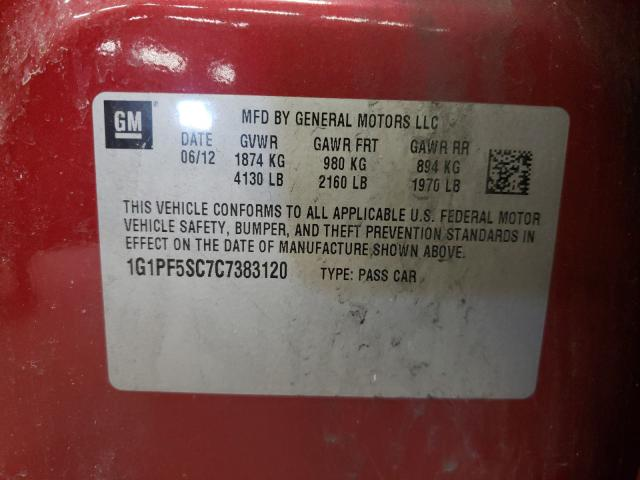 2012 CHEVROLET CRUZE LT 1G1PF5SC7C7383120