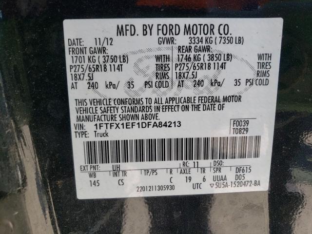 2013 FORD F150 SUPER 1FTFX1EF1DFA84213