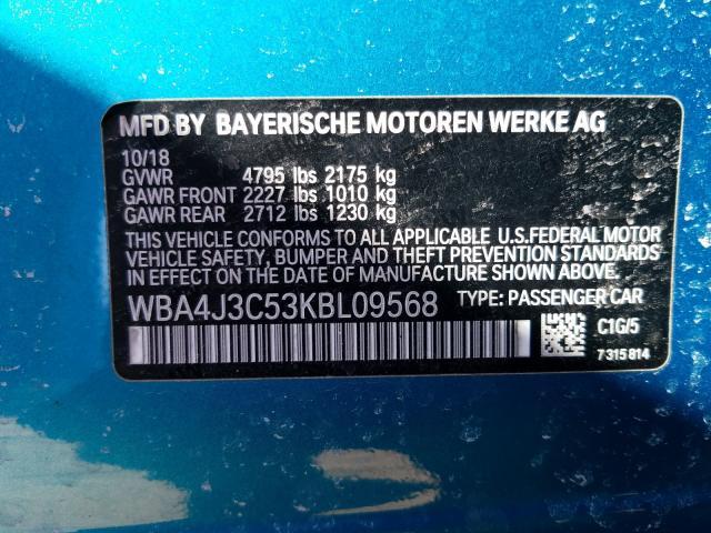 2019 BMW 430XI GRAN WBA4J3C53KBL09568