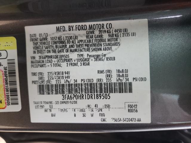 2013 FORD FUSION SE 3FA6P0HR1DR189505