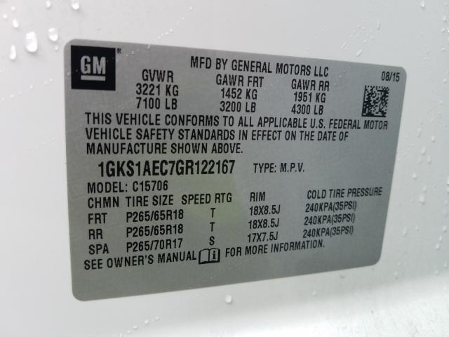 2016 GMC YUKON SLE 1GKS1AEC7GR122167
