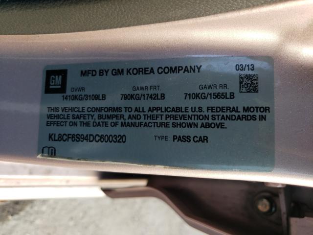 2013 CHEVROLET SPARK 2LT KL8CF6S94DC600320