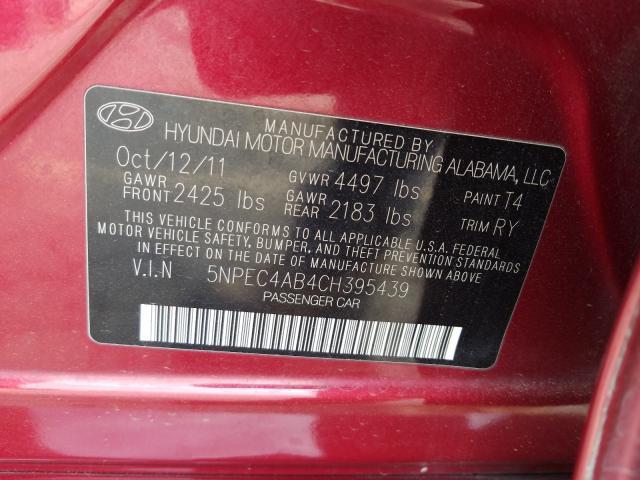 2012 HYUNDAI SONATA SE 5NPEC4AB4CH395439
