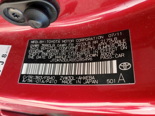 2011 TOYOTA PRIUS JTDKN3DUXB5285496