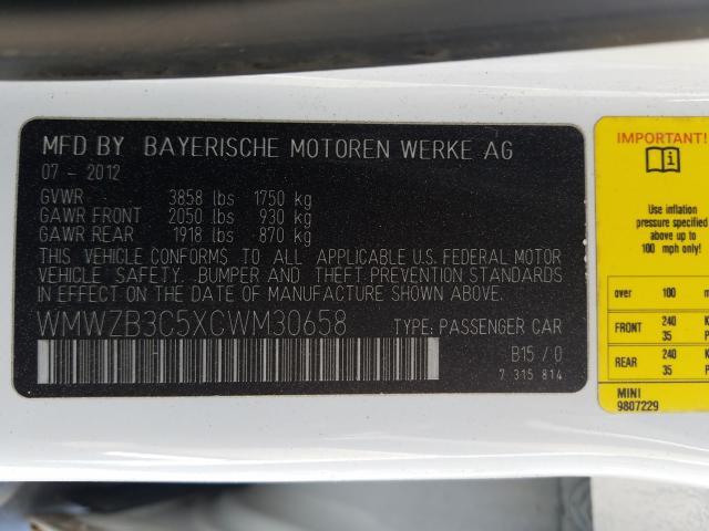 2012 Mini COOPER   Vin: WMWZB3C5XCWM30658