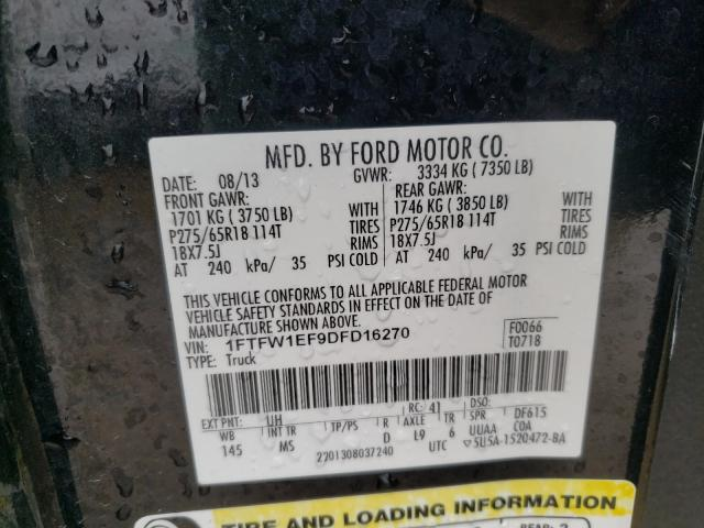 2013 FORD F150 SUPER 1FTFW1EF9DFD16270