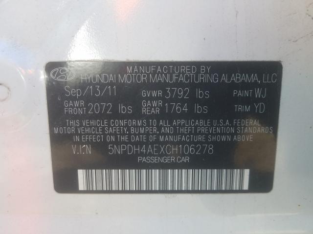 2012 HYUNDAI ELANTRA GL 5NPDH4AEXCH106278
